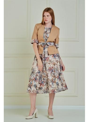 JEANNE D'ARC Çiçek Desenli Şifon Elbise Pamuk Kumaş Ceket JE90011 Bej